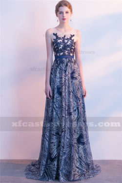 2018 Lace Long Prom Dresses Applique Evening Gowns FFN03