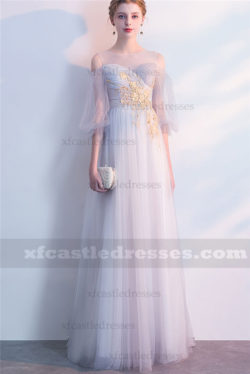 2018 Lace Long Prom Dresses with Sleeves Silver Gray FFN06
