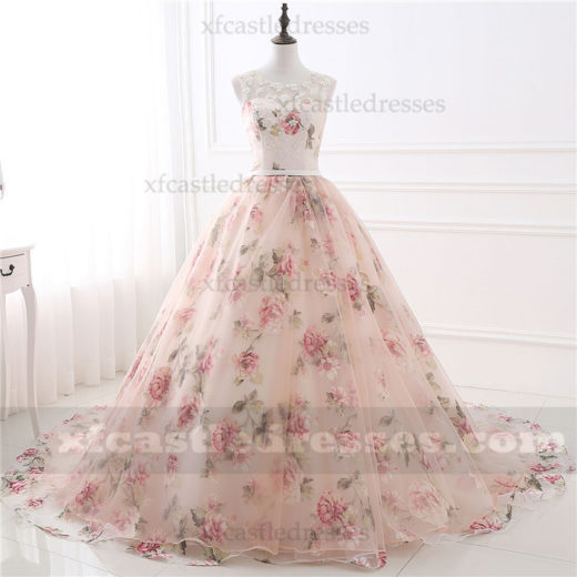 2017 Pink Floral Print Lace Long Ball Gown Prom Dresses SPT237