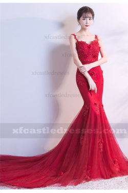 2018 Red Lace Mermaid Prom Dresses with Straps MXN1103