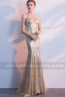 2018 Sequin Long Mermaid Evening Dresses Open Back Prom Gowns FFN08