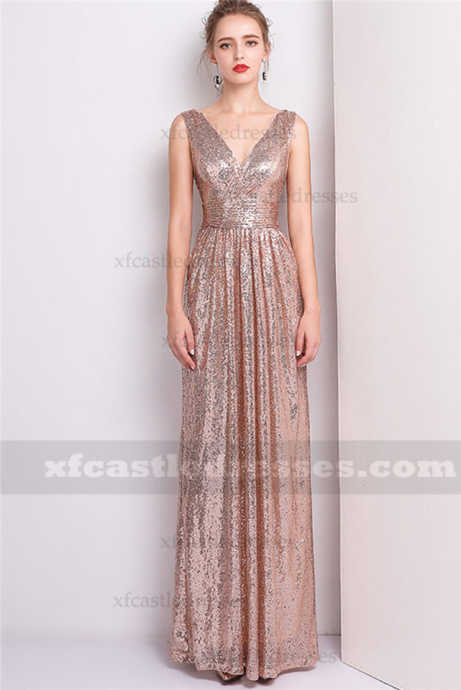 2018 V Neck Sequin Bridesmaid Dresses Long Evening Gowns FFN02
