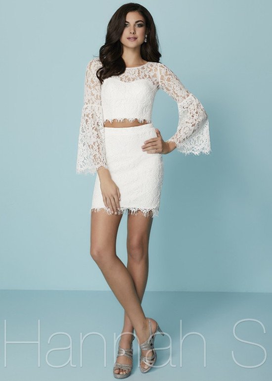 4898f6fdbe2 Chic Illusion Bell Sleeves Ivory Beaded Lace Slim Flare Homecoming ...